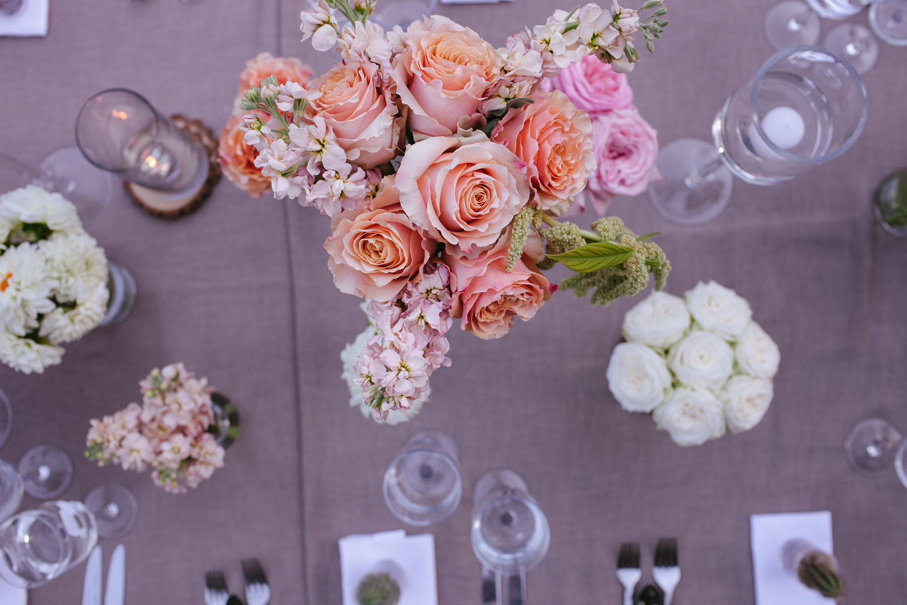 Fresh flowers enliven a communal table.