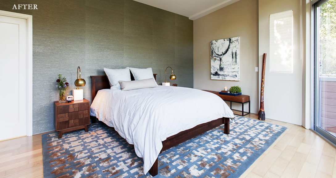 After: Sea grass wall treatment tamed an expansive wall in a masculine master suite.