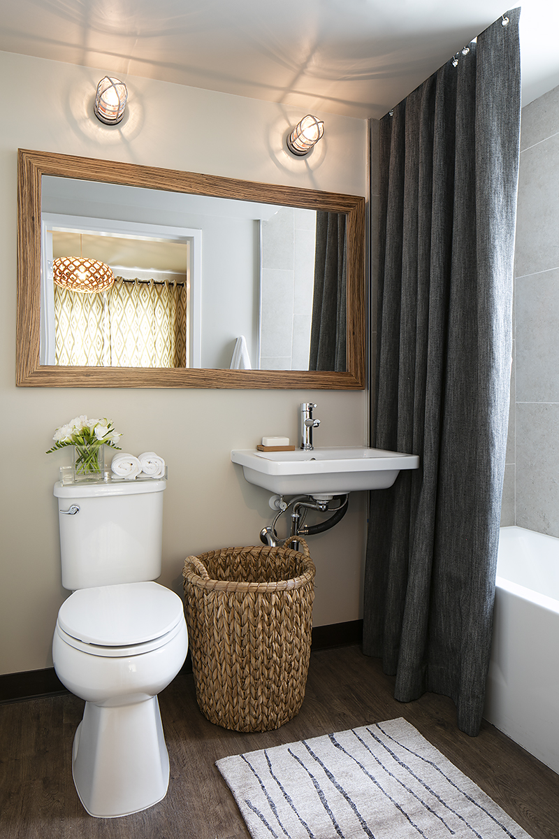 Bathroom attached to second bedroom; interior design donated by LMB Interiors; fabrics donated by Robert Allen