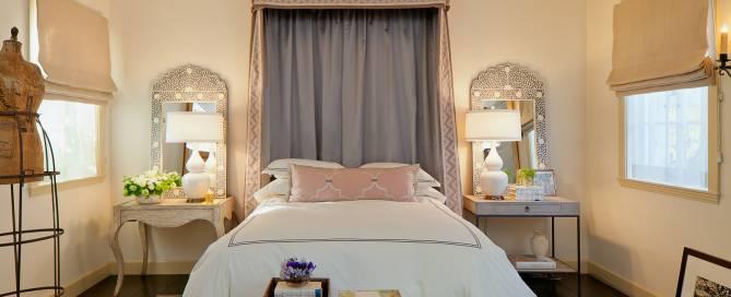 Sausalito, chic interior design of bedroom by award winning designer.