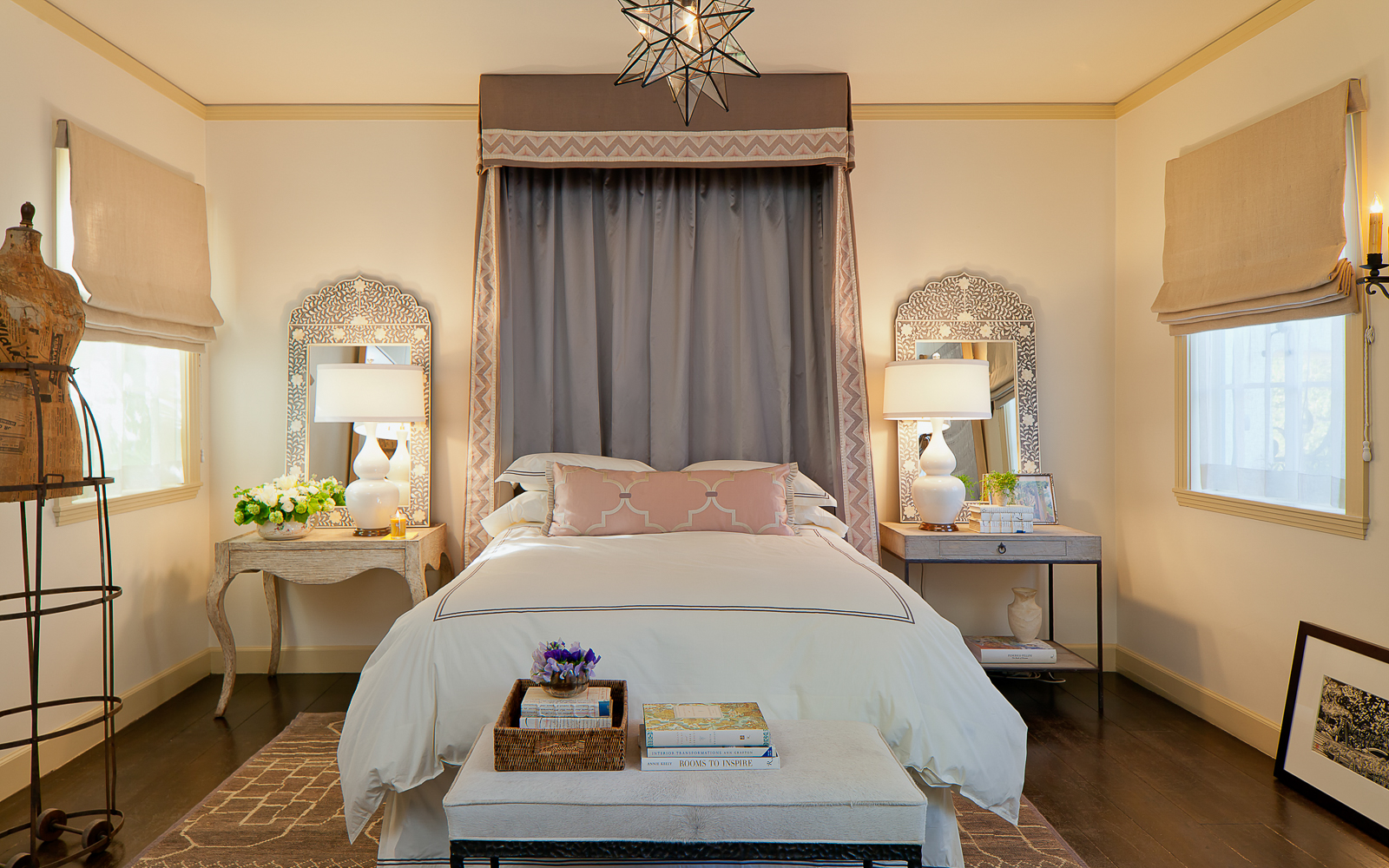Sausalito, chic interior design of bedroom by award winning designer.
