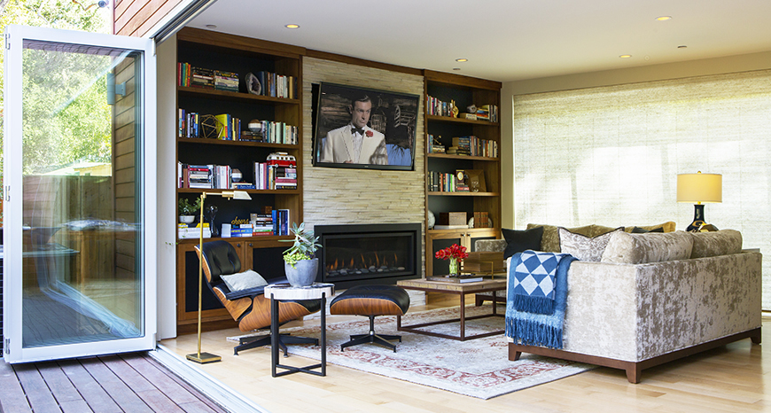 A modern style, fully redesigned, remodeled formal living room in a California contemporary house Piedmont Oakland Lamorinda.