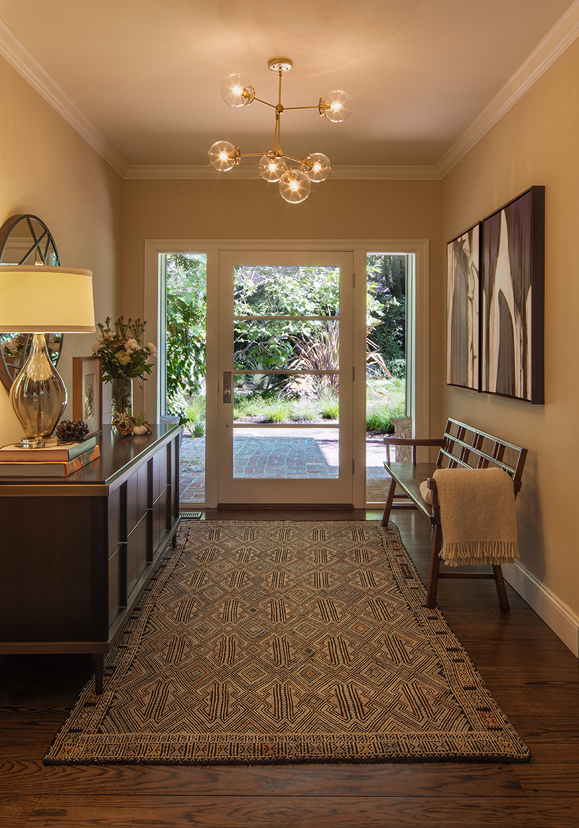 Modern style, interior designed, remodeled entry way with custom art in California ranch house, Piedmont Oakland Lafayette.
