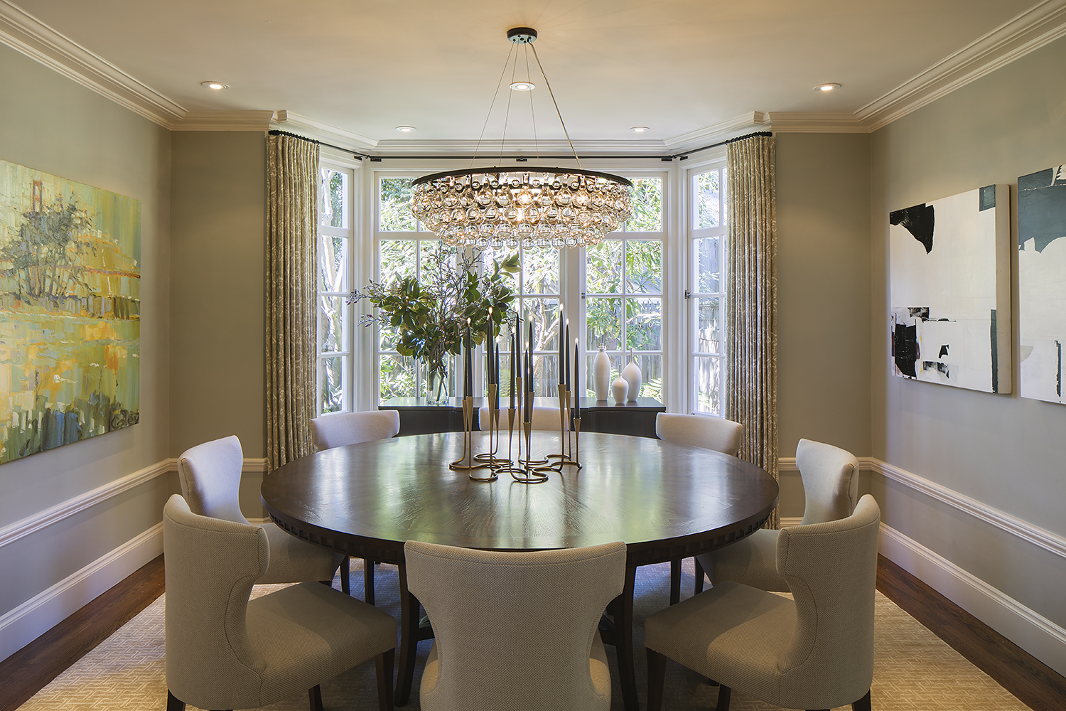 A modern style, fully redesigned, remodeled formal dining room in an historic Tudor house Piedmont Oakland San Francisco.