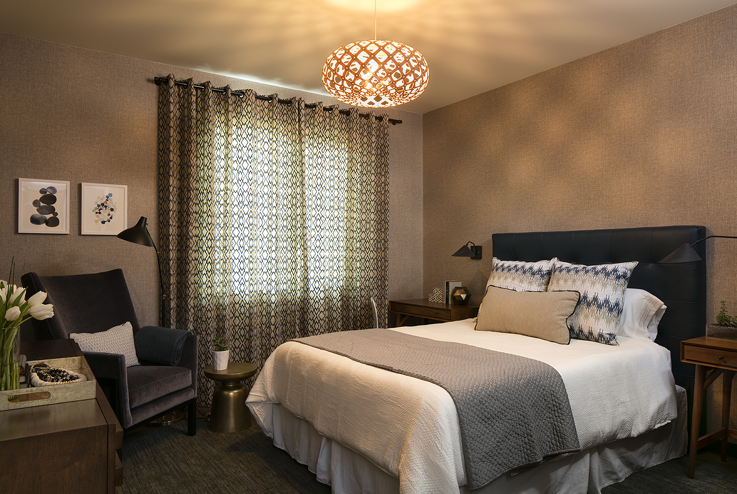 One of the bedrooms in a 2-bedroom, 2-bathroom family suite, Ronald McDonald House at Stanford; interior design donated by LMB Interiors; fabrics donated by Robert Allen