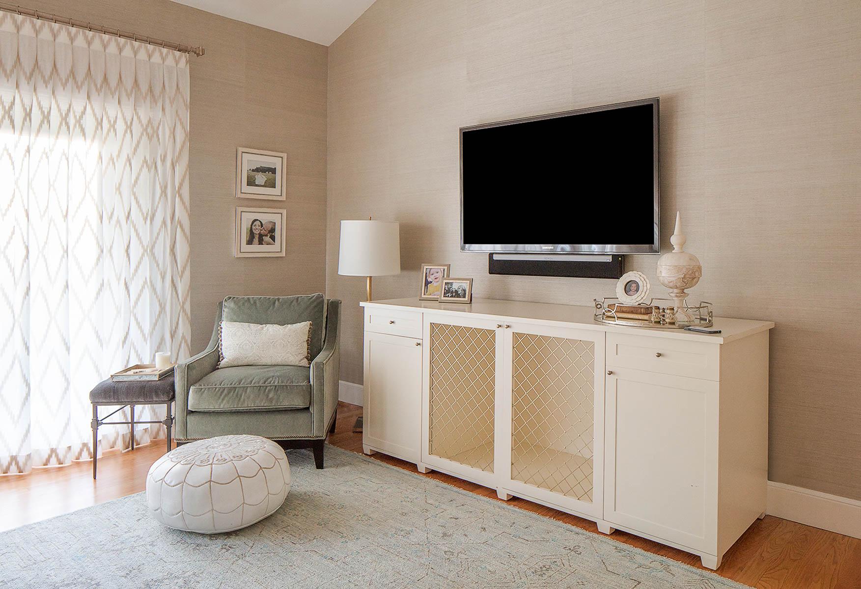 LMB_Interiors_Hillsborough_Green_Design_Dog_Crate_TV_Cabinet_Empty