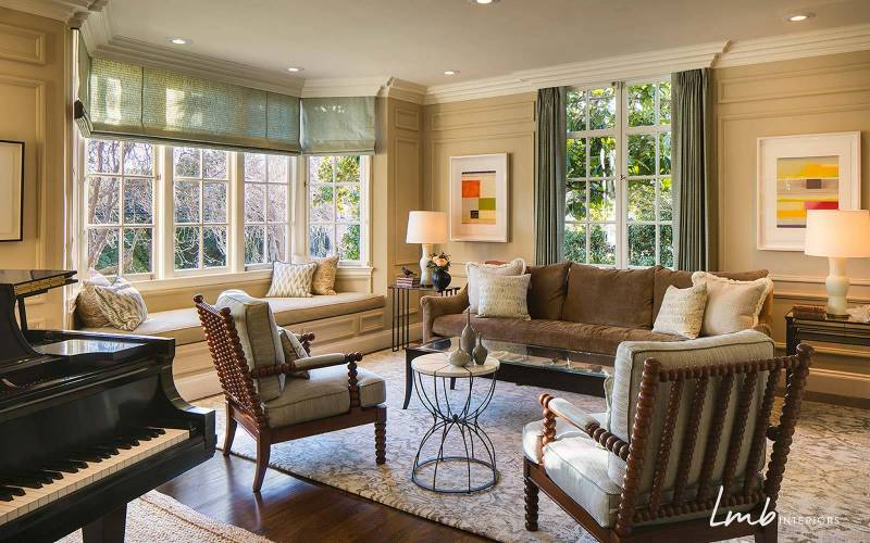 Grand historic Tudor-style living room, interior design San Francisco.
