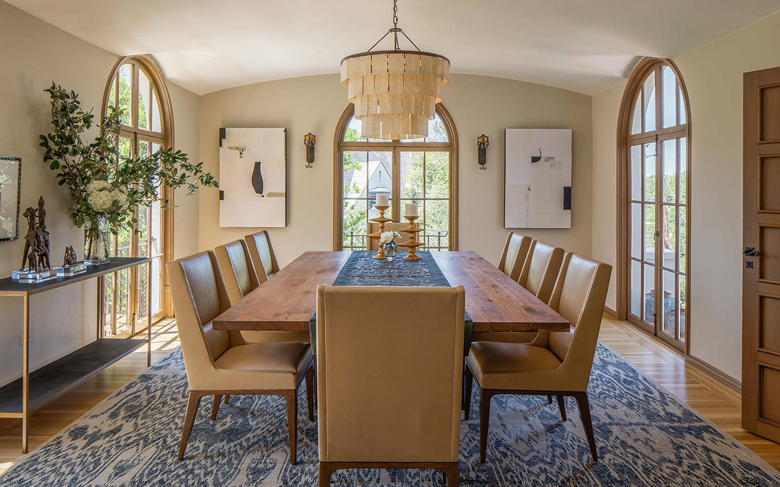 Spanish mediterranean chic interior design dining room, Palo Alto interior designer.