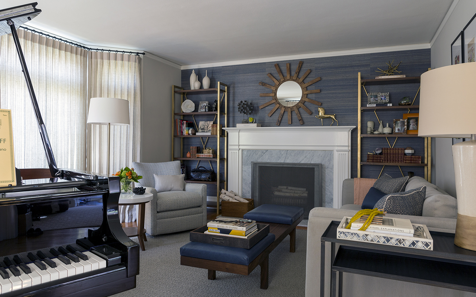 A modern style, fully redesigned, remodeled formal living room in California bungalow house Piedmont Oakland Lamorinda.