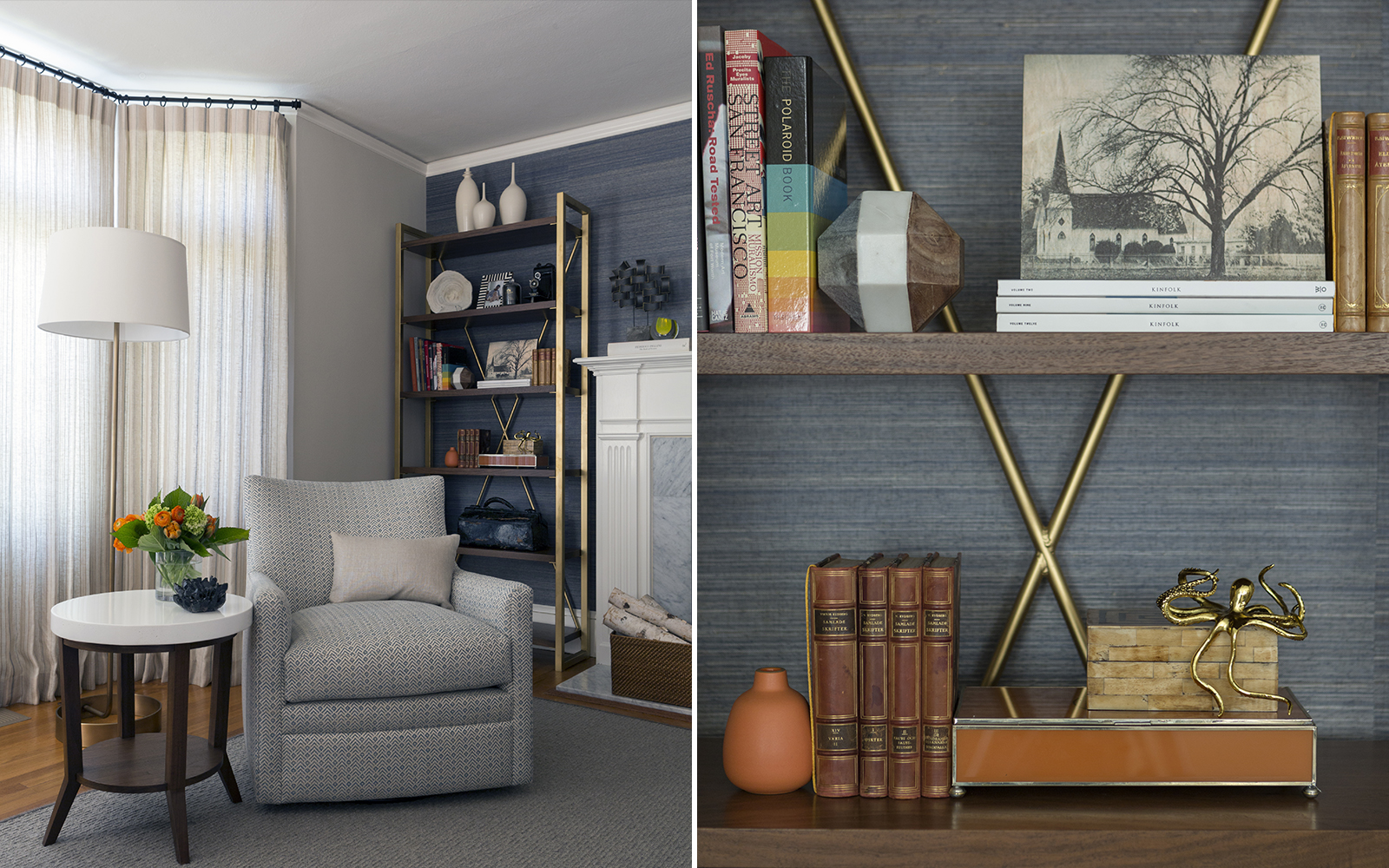 Photo collage showing a reading nook in a home, perfect for video conferencing.