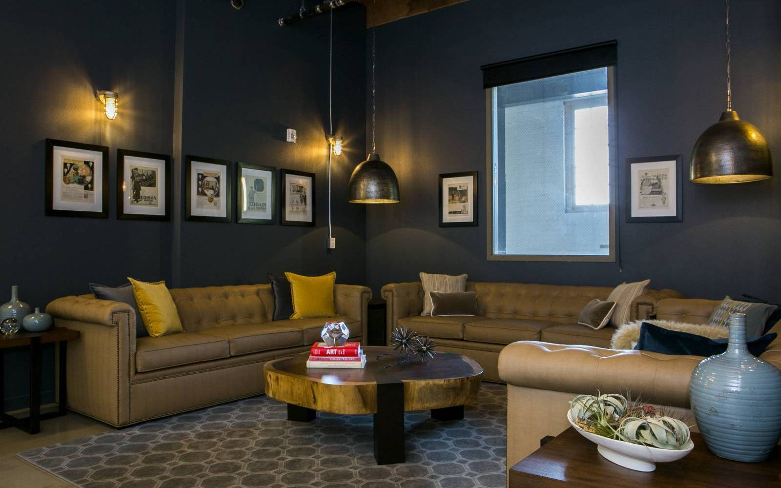 Chic industrial design office space, Redwood City interior designer.