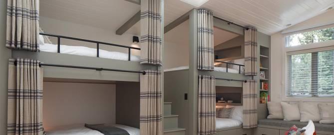 High net worth interior design of vacation home guest bedroom, top interior designer LMB Interiors Oakland named Best Interior Designer 2015 and 2018 by Oakland Magazine