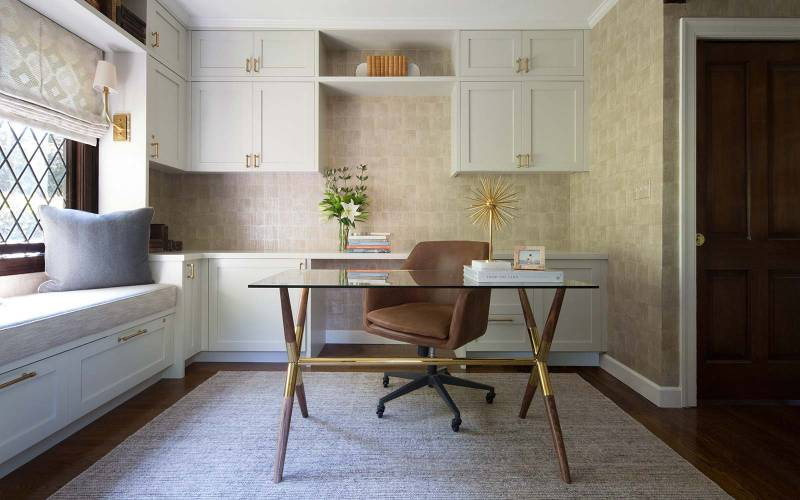 Award-winning interior design of Tudor-style home office, Piedmont interior designer.