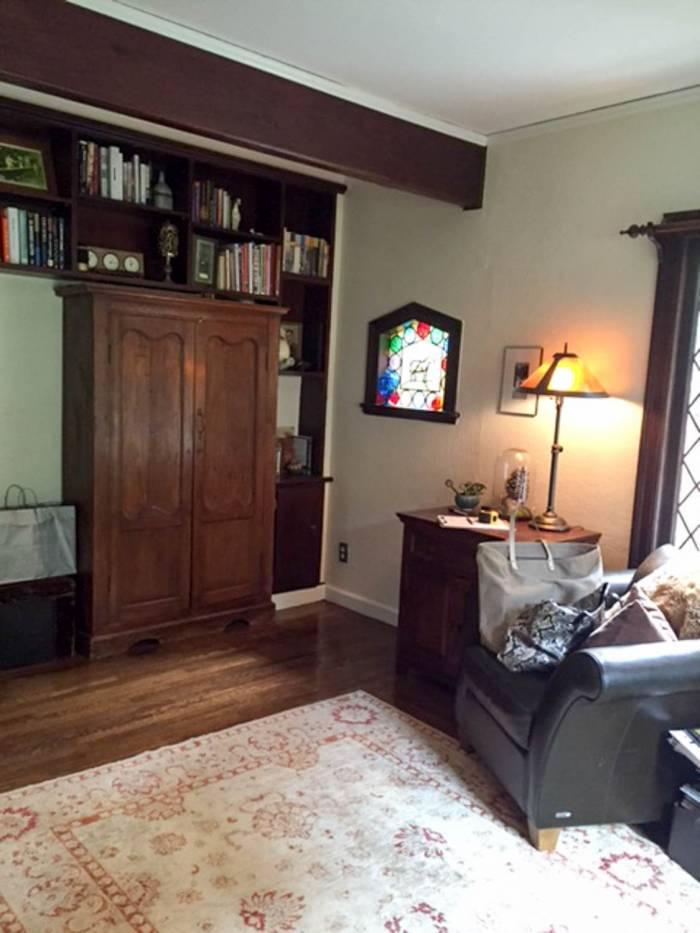 Before chic redesign of Tudor-style home office, Palo Alto interior designer.
