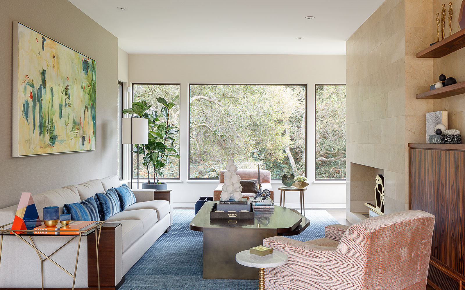 Modern chic interior designed living room, Palo Alto interior designer.