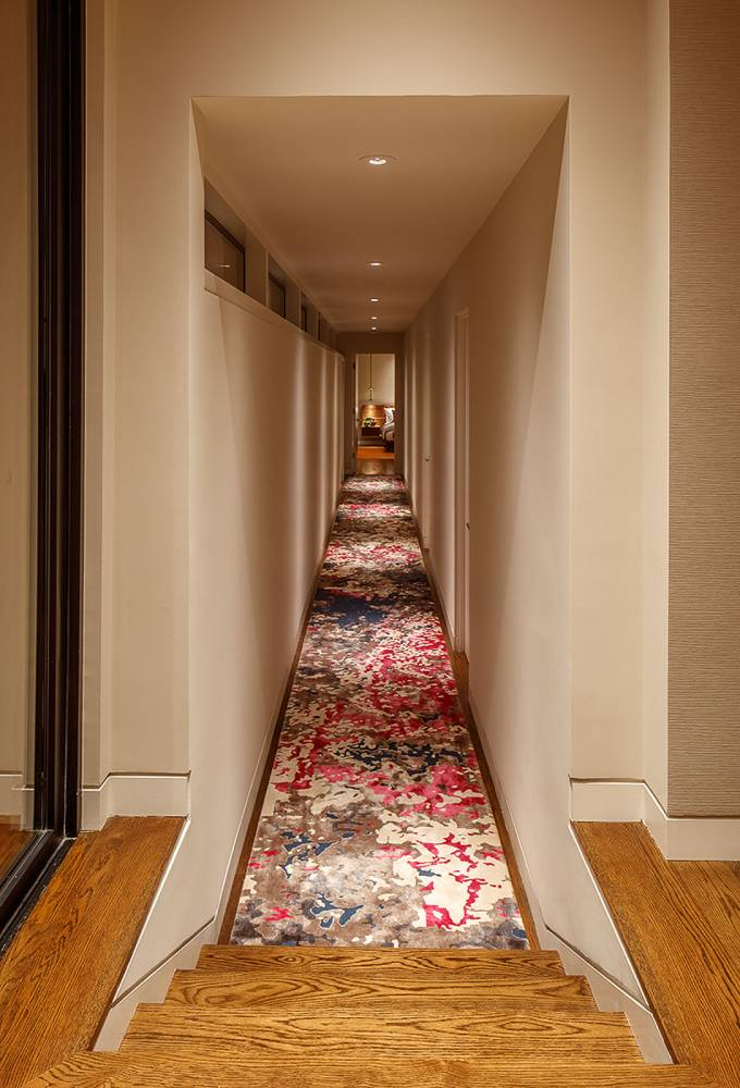 Endless modern rug for mid century hallway, Beverly Hills interior designer.