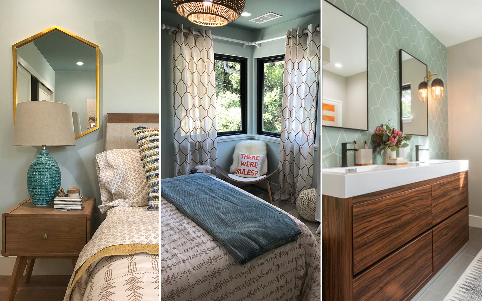 Photo collage showing a styled bedroom and bathroom for season 6 of Brother vs Brother.