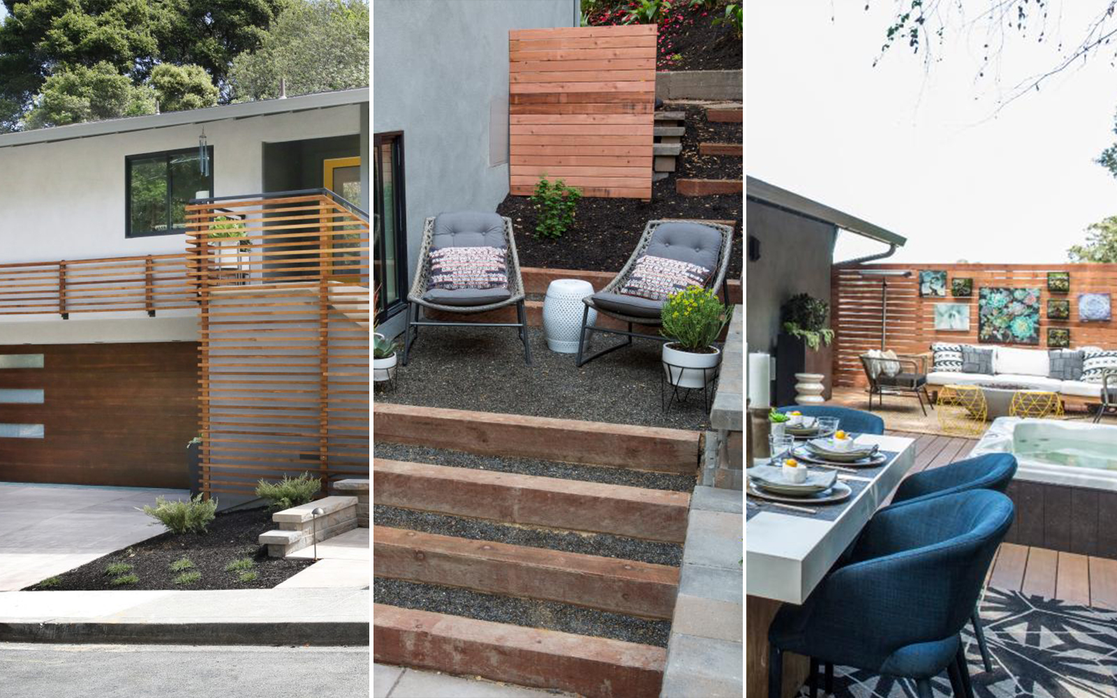 A photo collage showing a styled outdoor living space for season 6 of Brother vs Brother.
