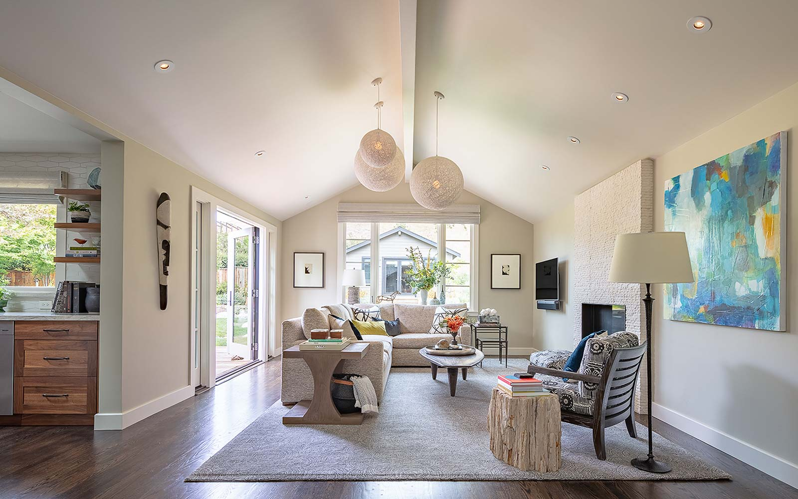 Family Room Interior Design, fireplace, by LMB Interiors
