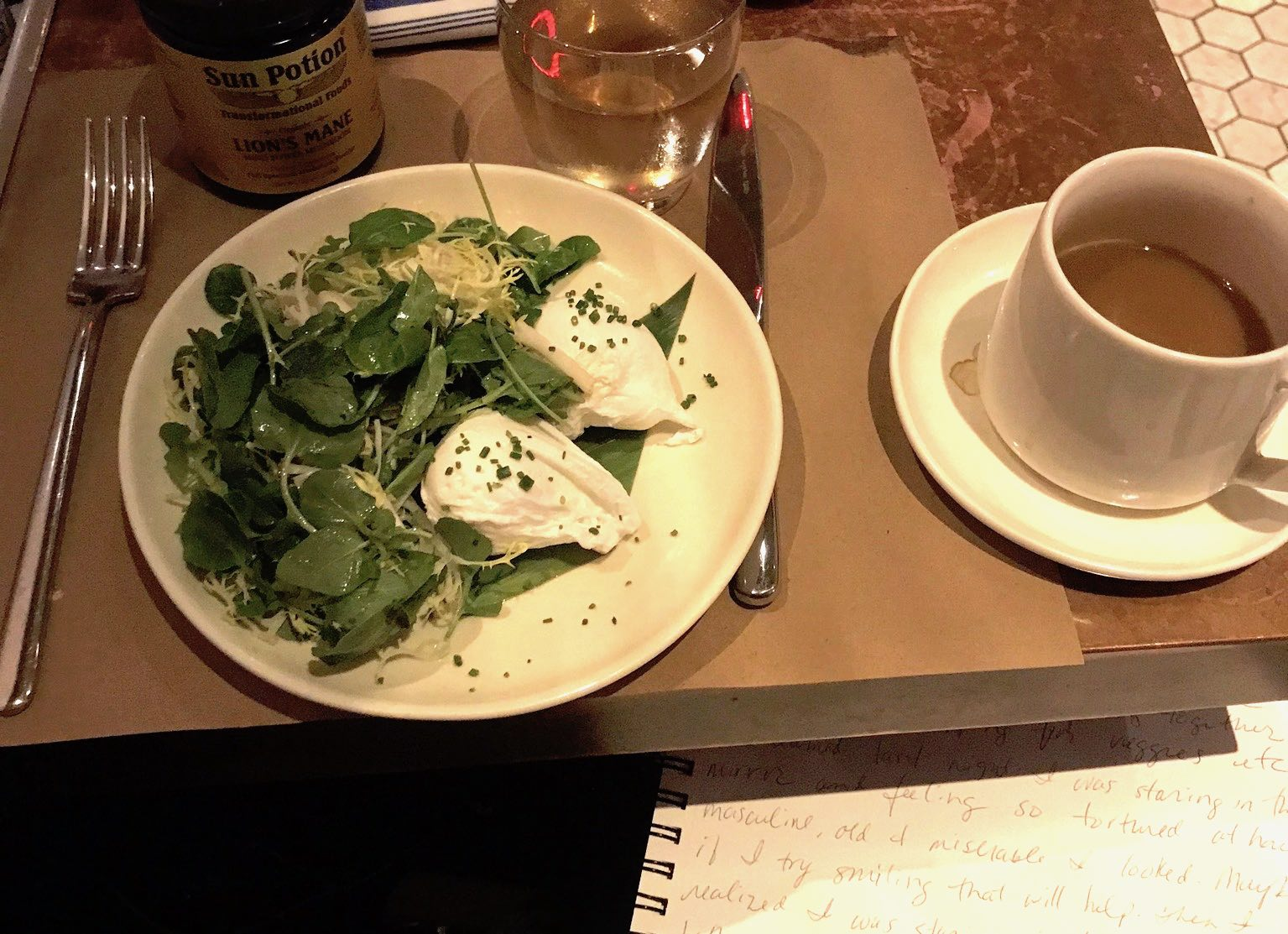 Poached eggs, arugula, coffee, lion's mane, journal