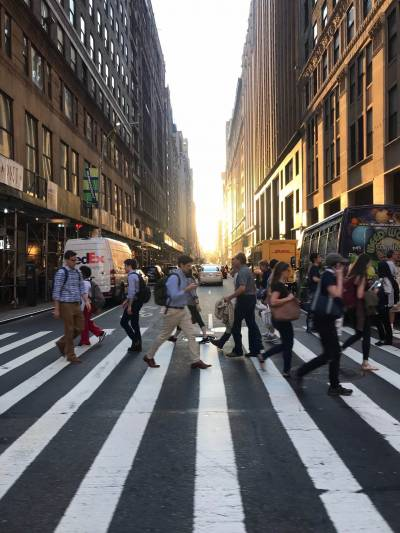 New York Crosswalk at Dusk