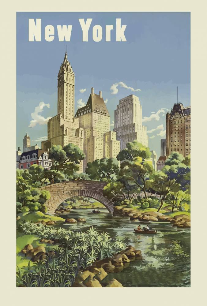 Vintage travel poster of new york to illustrate travel article by Laura Martin Bovard
