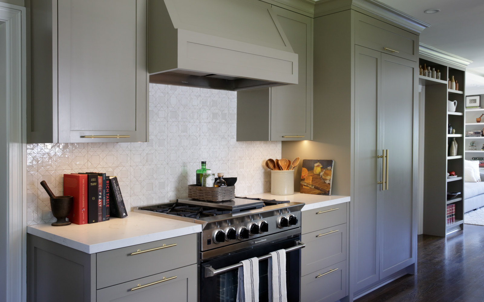 Range with Mosaic House Moroccan tile backsplash, custom painted cabinets, interior design for family in Piedmont