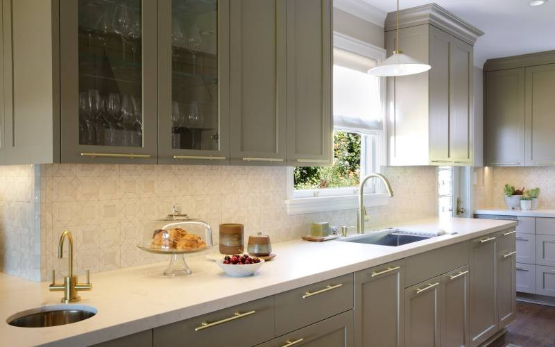 Cambria countertops Mosaic House tile custom painted cabinets
