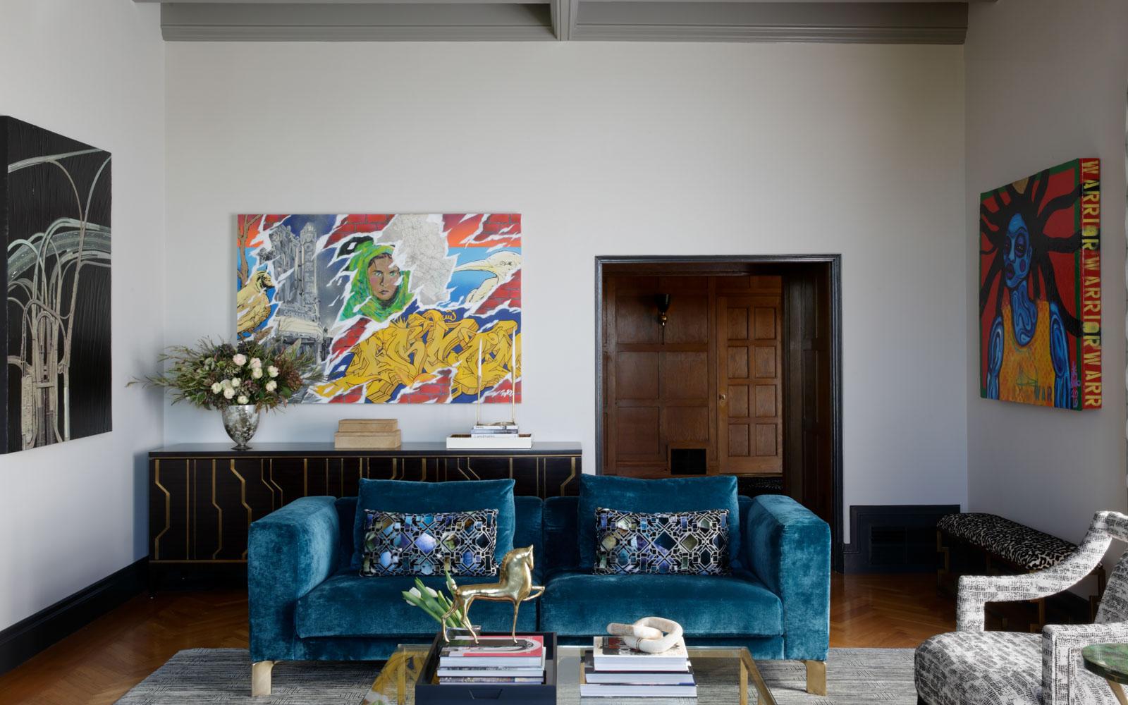 Peacock Blue Velvet Couch in Living Room of Landmark Morse House in Oakland, designed by LMB Interiors