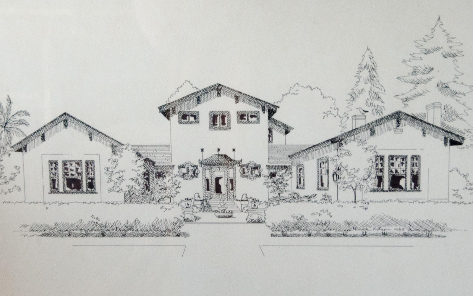 Drawing of home on Highland and Moraga in Piedmont
