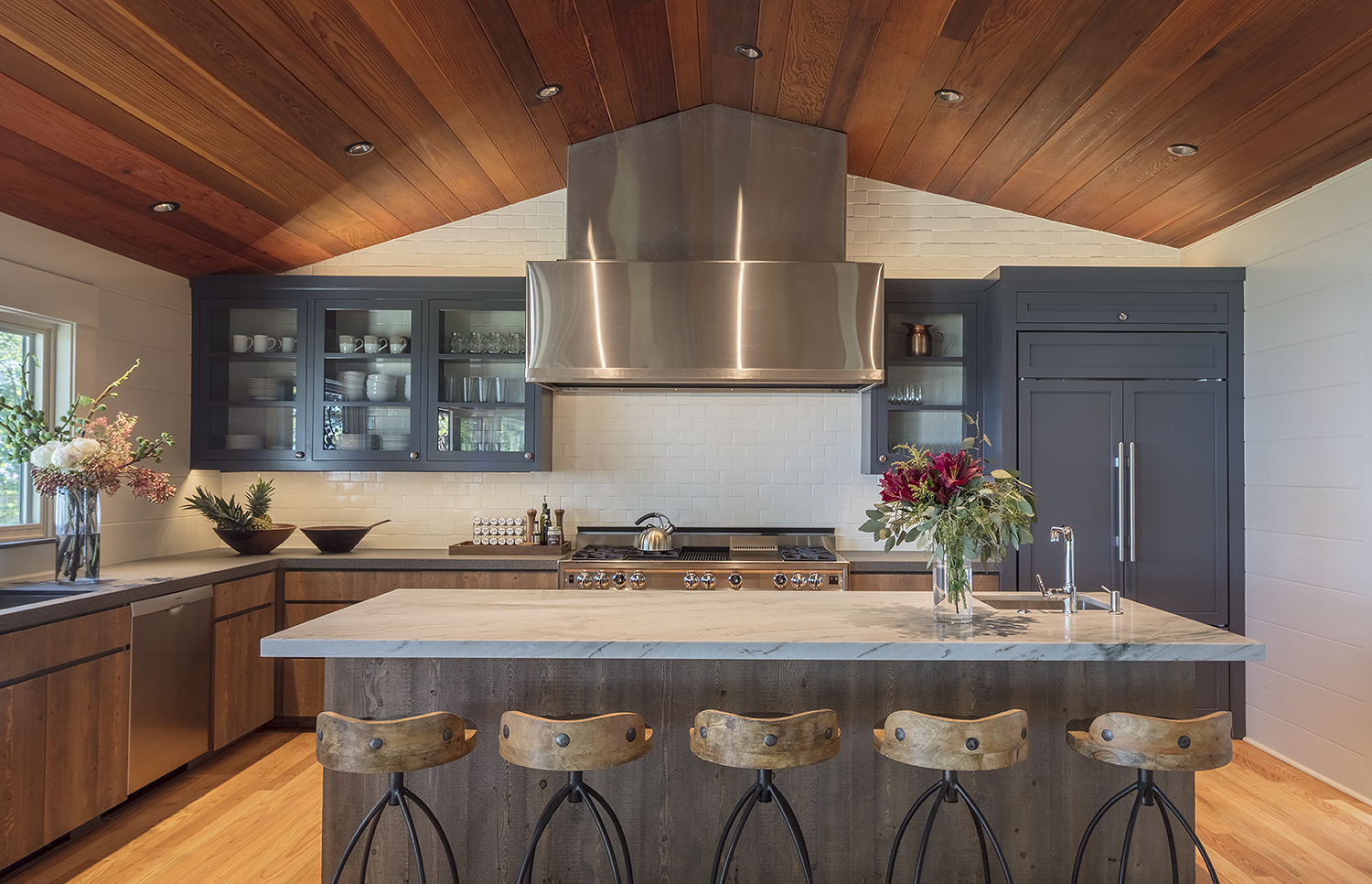 A beautifully-appointed kitchen in a Tahoe vacation home invites community, connection, and nourishment