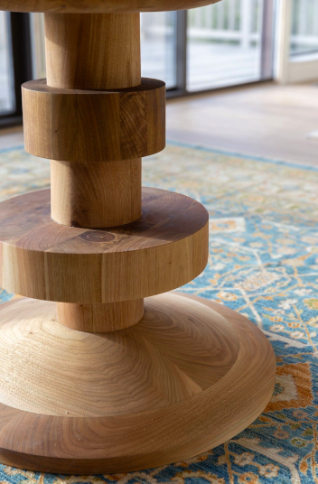 Monument Grand Dining Table detail; sustainably produced, non-toxic finishes, in walnut wood